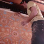 Custom stencil wall paper hand painted