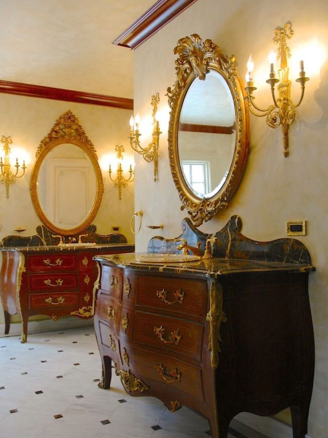 Venetian plaster gold leaf furniture bath