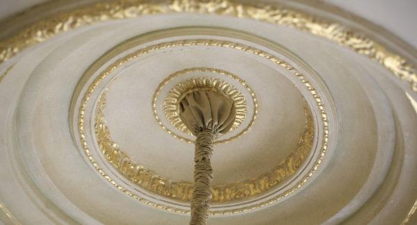 Gold leaf on plaster ornament ceiling