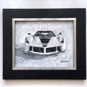 oil on linen painting white Ferrari