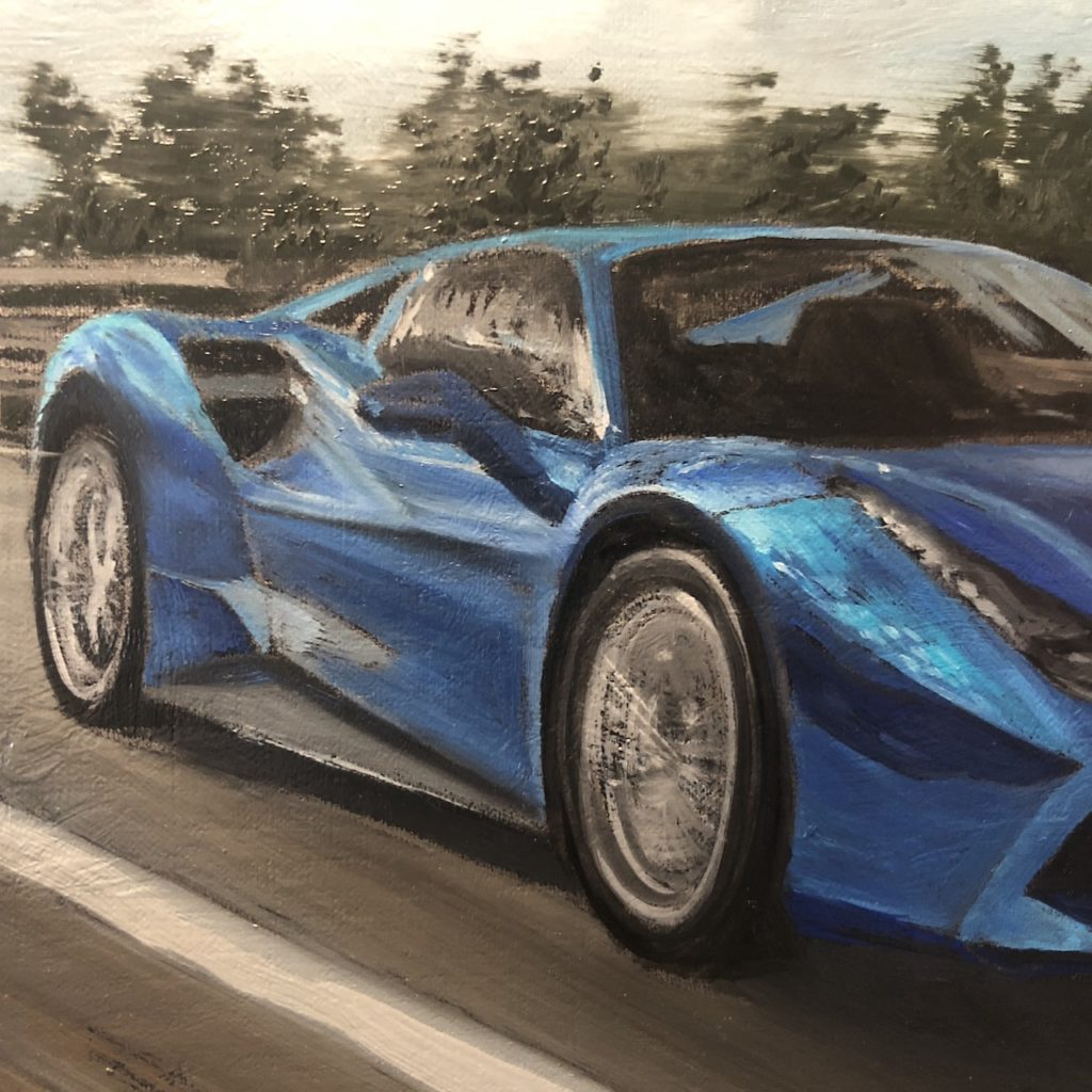 Oil painting on linen luxury Ferrari blue