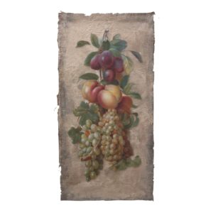 Fruit still life, acrylic on burlap