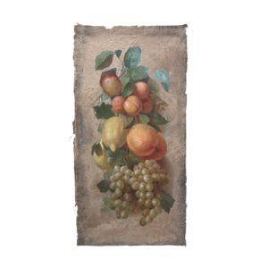 Fruit still life, acrylic on burlap panel