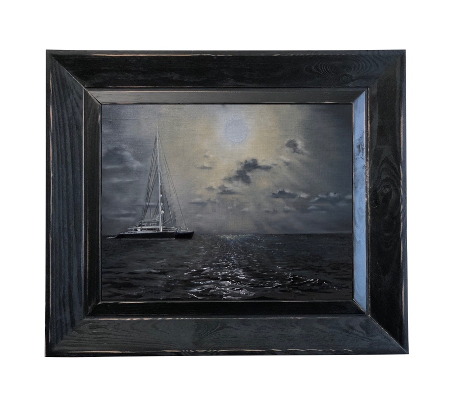 Oil painting, framed, The Approach