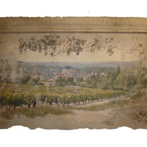 Panel plaster with frieze vineyard